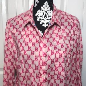 French Bulldog Pink Button Down Shirt Size XL